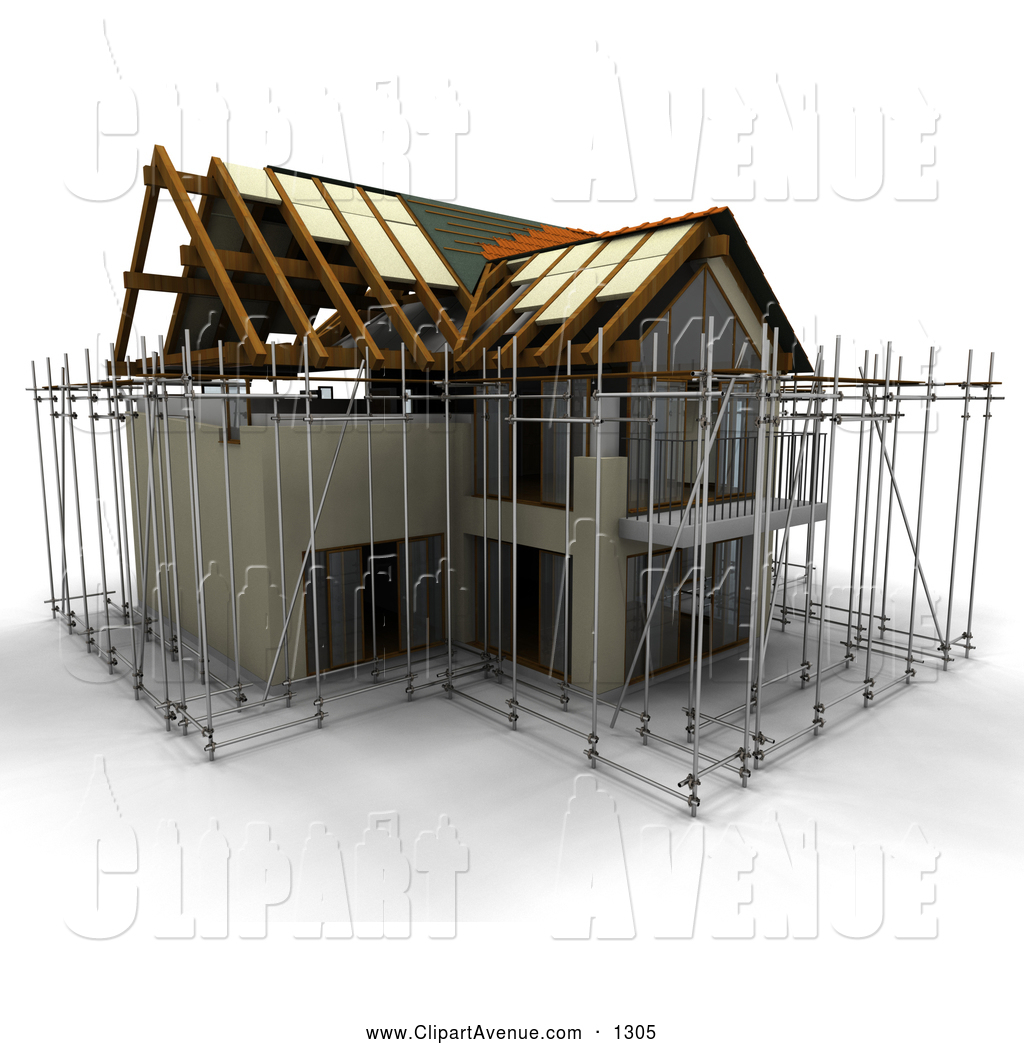 Avenue Clipart Of A 3d Home Under Construction By Kj Pargeter    1305