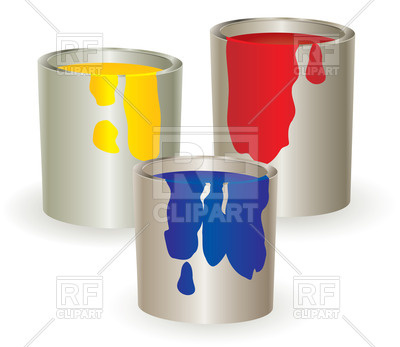 Buckets With Paint Objects Download Royalty Free Vector Clip Art