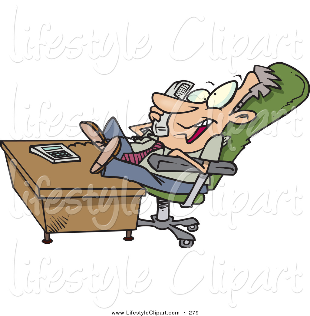 Businessman At Desk Clipart Lifestyle Clipart Of A Lazy