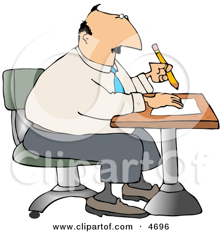 Businessman Sitting At A Desk And Writing On Paper With Pencil Clipart