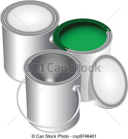 Cans Of Paint Closed Open And Empty With Green Paint  Vector