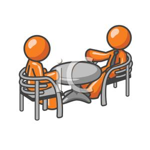 Cartoon Of Two Men Having A Meeting   Royalty Free Clipart Picture