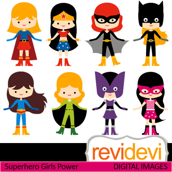 Clipart Superhero Girls Power 07418   Commercial Use By Revidevi