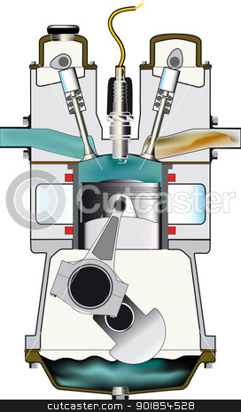 Clipart The Compression Stroke Of A Four Stroke Petrol Engine  By