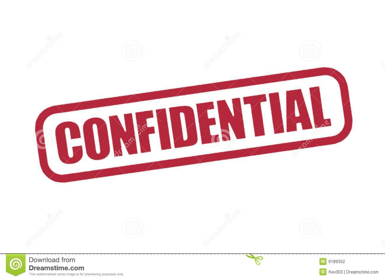 Confidential Stamp Illustration In Red Printed Word Encircled
