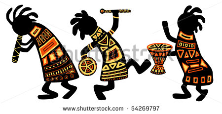 Dancing Musicians  African Traditional Patterns Stock Photo 54269797