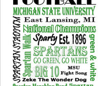 Instant Download Printable Michigan State University Spartans Football