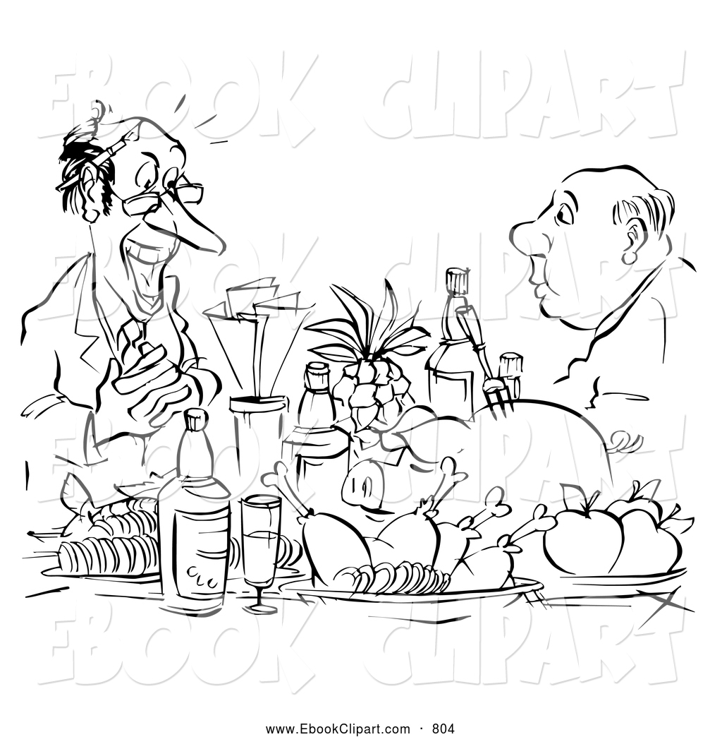 Larger Preview  Clip Art Of A Coloring Page Of Men With A Feast By