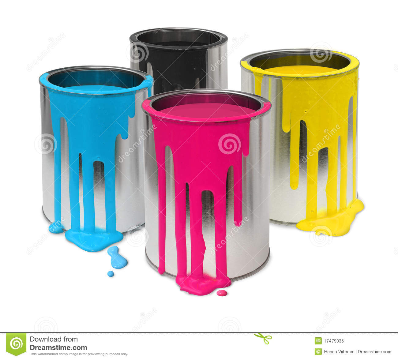 Metal Tin Cans With Four Process Color Cmyk Paints Flowing