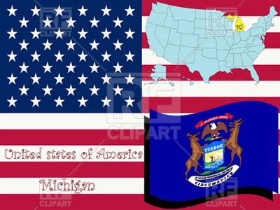 Michigan State Flag And Map Outline 11414 Download Royalty Free