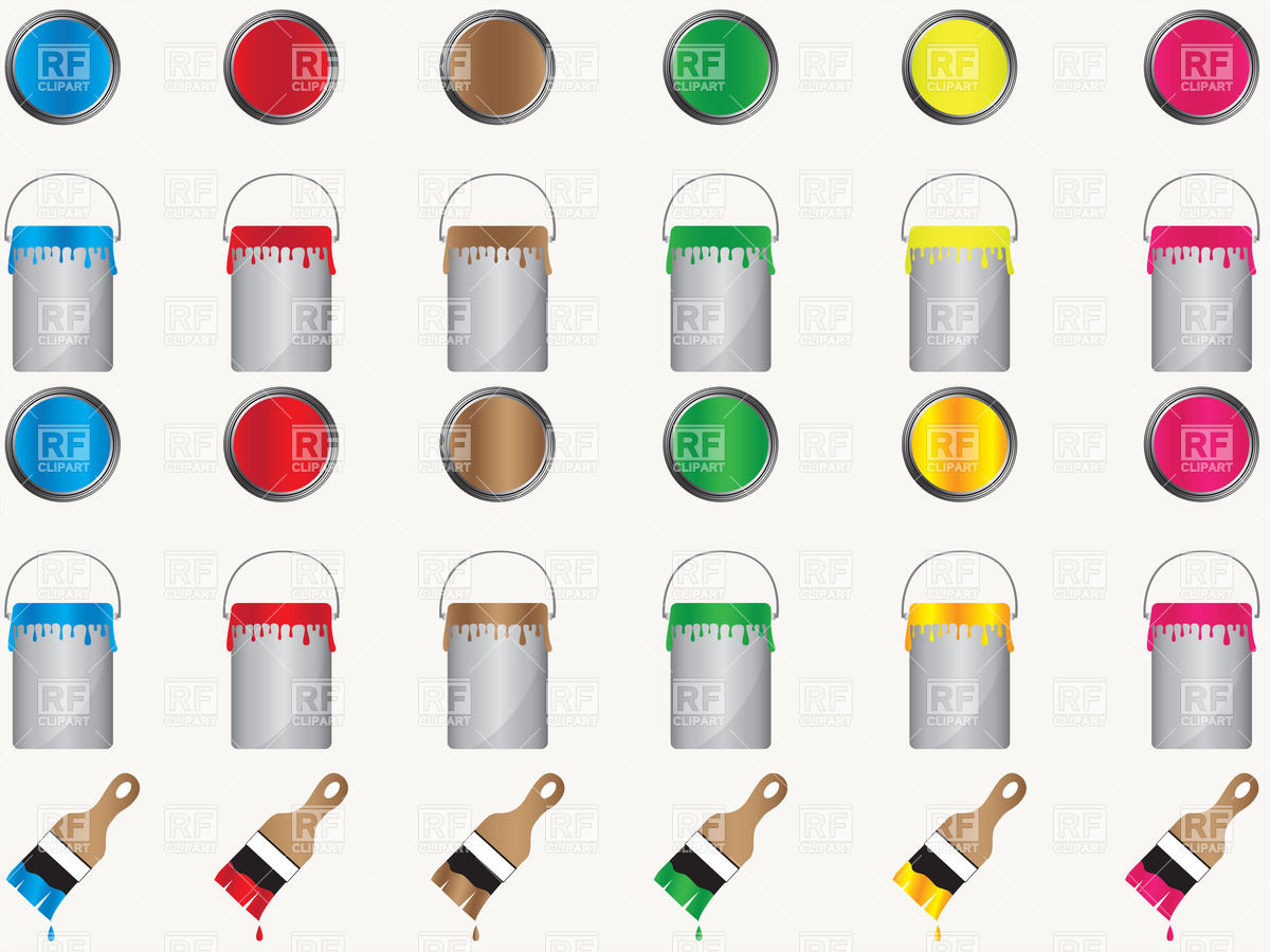 Paint Cans Top And Side Views Download Royalty Free Vector Clipart