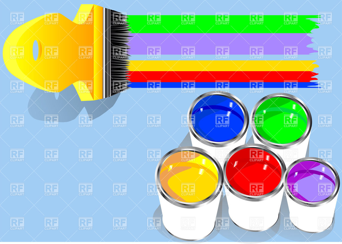 Paintbrush And Cans Of Paint In Rainbow Colors Icons And Emblems