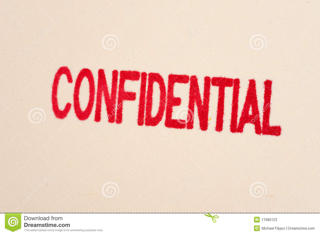 Red Confidential Stamp On A Folder Stock Photos   Image  11685123