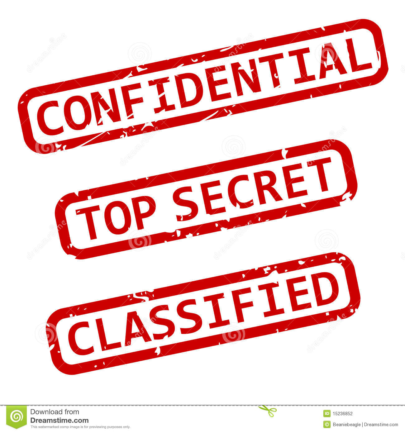 Three Vector Illustrations Of Confidential Top Secret And Classified