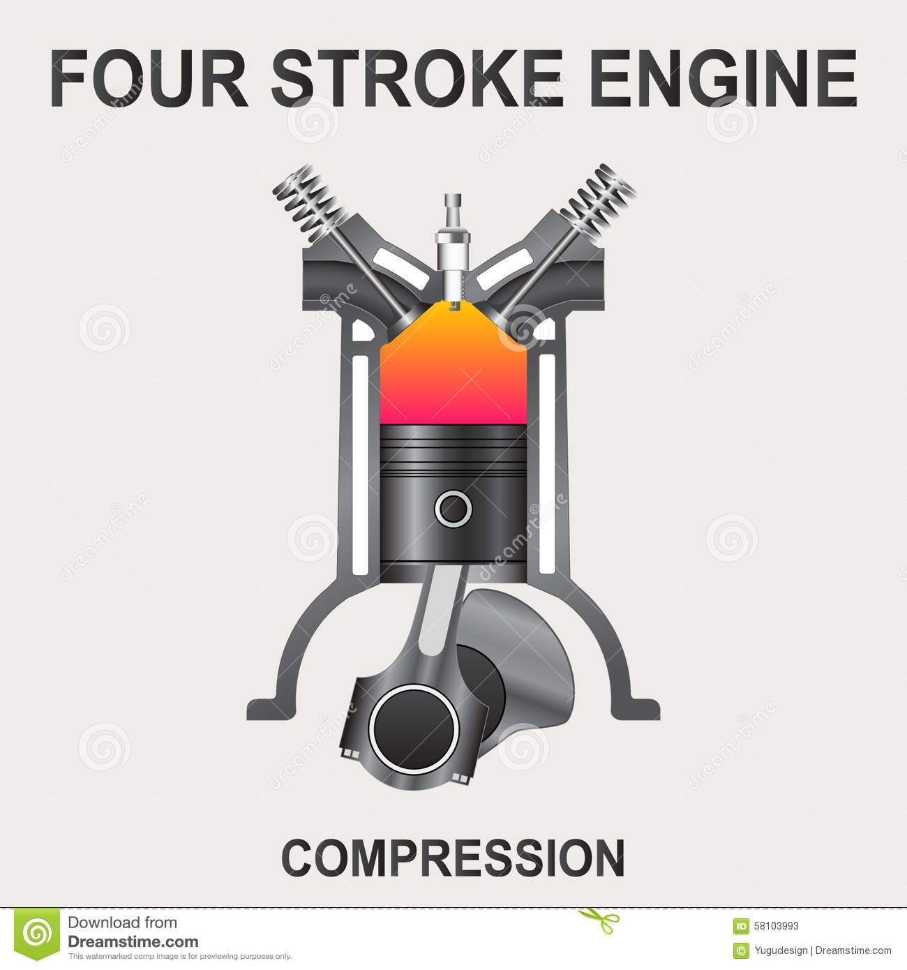 Vector Illustration Of Piston Four Stroke Engine Compression
