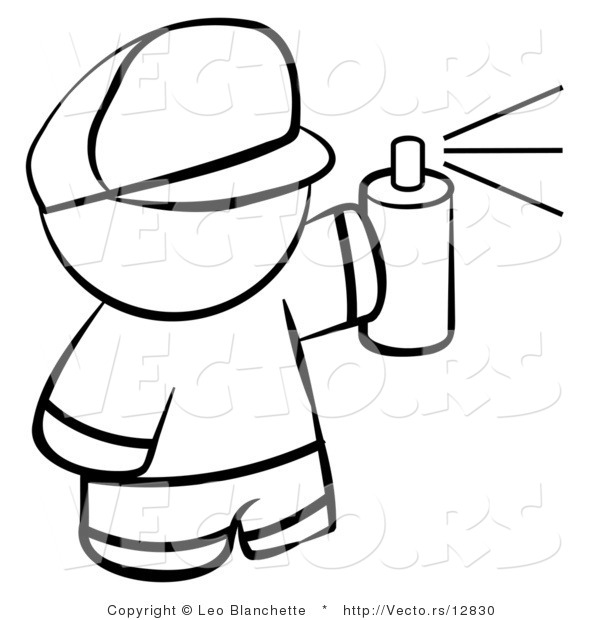 Vector Of Boy Spray Painting   Coloring Page Outlined Art By Leo
