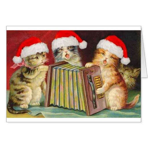 Vintage Christmas Accordian Cats Greeting Card   Zazzle