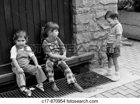 White Photo Humour People Children Two Little Girls Sit In Front