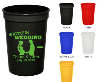 12 Oz Plastic Cups  Clipart 1380  S Hotgun Wedding   Personalized