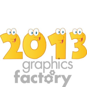 4988 Clipart Illustration Of 2013 New Year Gold Numbers Cartoon