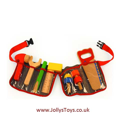 Carpenters Tool Belt With Wooden Tools Clipart