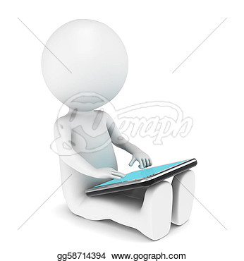 Character Sitting With His Tablet Computer  Clipart Drawing Gg58714394
