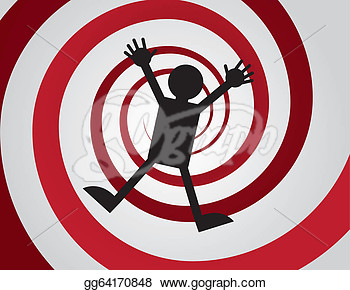 Clip Art   Figure Falling Down Red Spiral  Stock Illustration