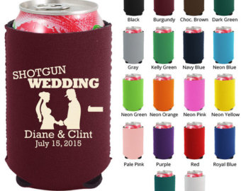 Clipart 1380  Shotgun Wedding   Personalized Koozies   Wedding