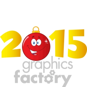 Clipart Illustration 2015 Year With Cartoon Red Christmas Ball Clipart