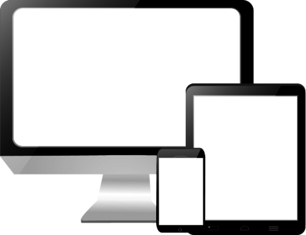 Computer Screen With A Tablet And A Touch Phone Vector Clip Art