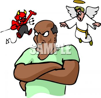 Devil And Angel On My Shoulder Conscience   Royalty Free Clip Art