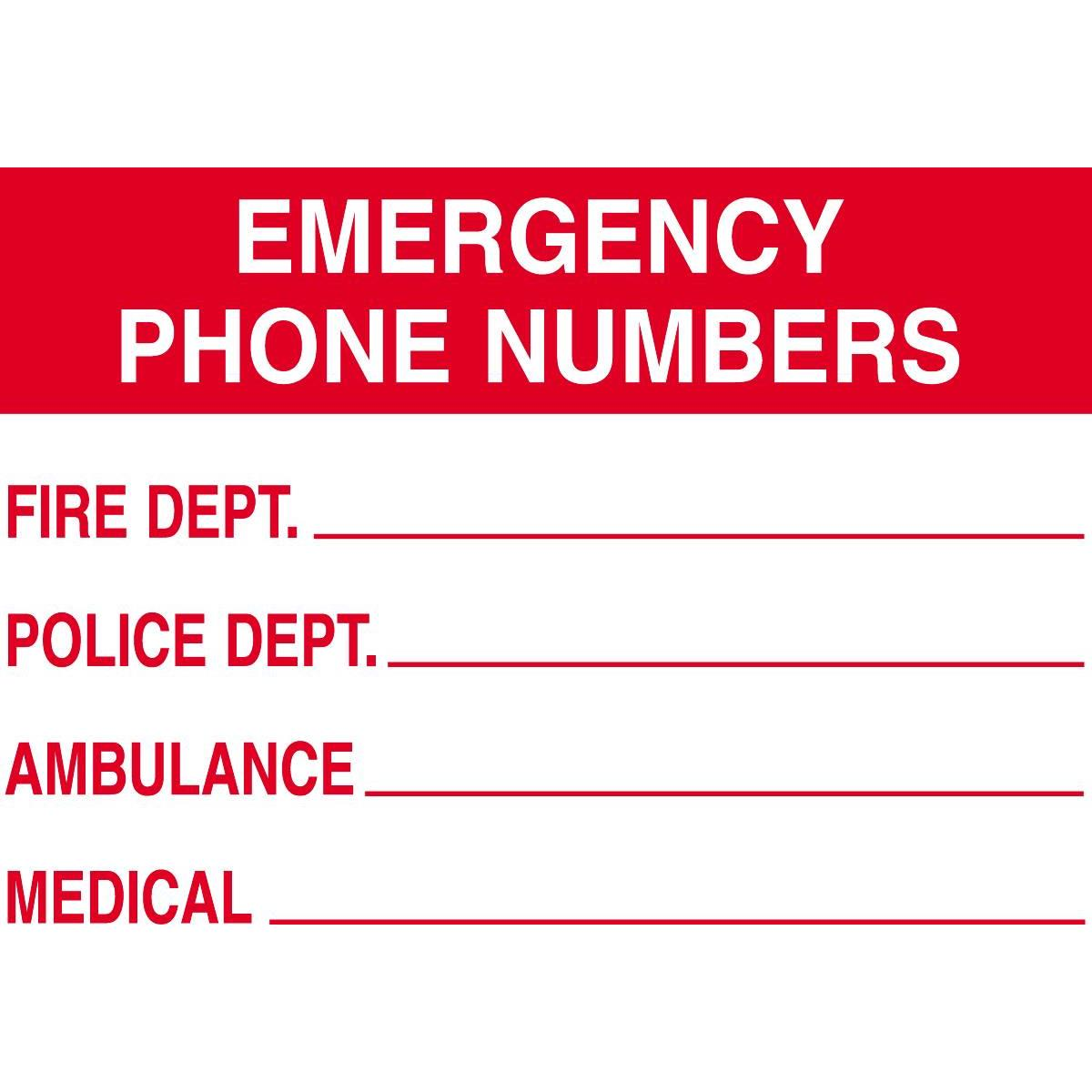 Emergency Phone Numbers Sign   Gempler S
