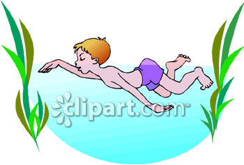 Little Boy Swimming In The Ocean Royalty Free Clipart Image