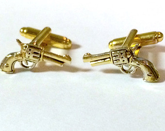 Men S Gold Shotgun Wedding Pistol Cufflinks Handcrafted Pair Revolver