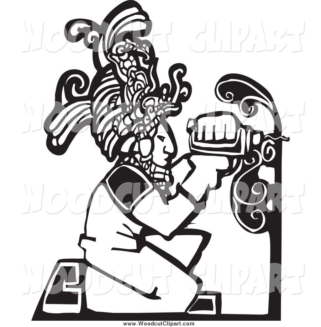 Of A Black And White Woodcut Mayan Carpenter Drilling By Xunantunich