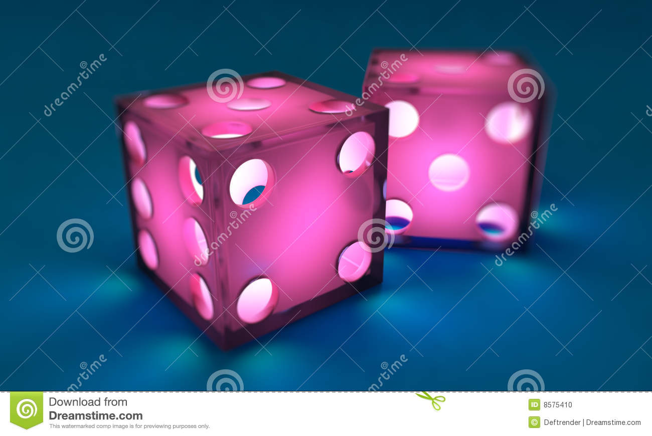 Pink Dice On Blue Background Illuminated From Within