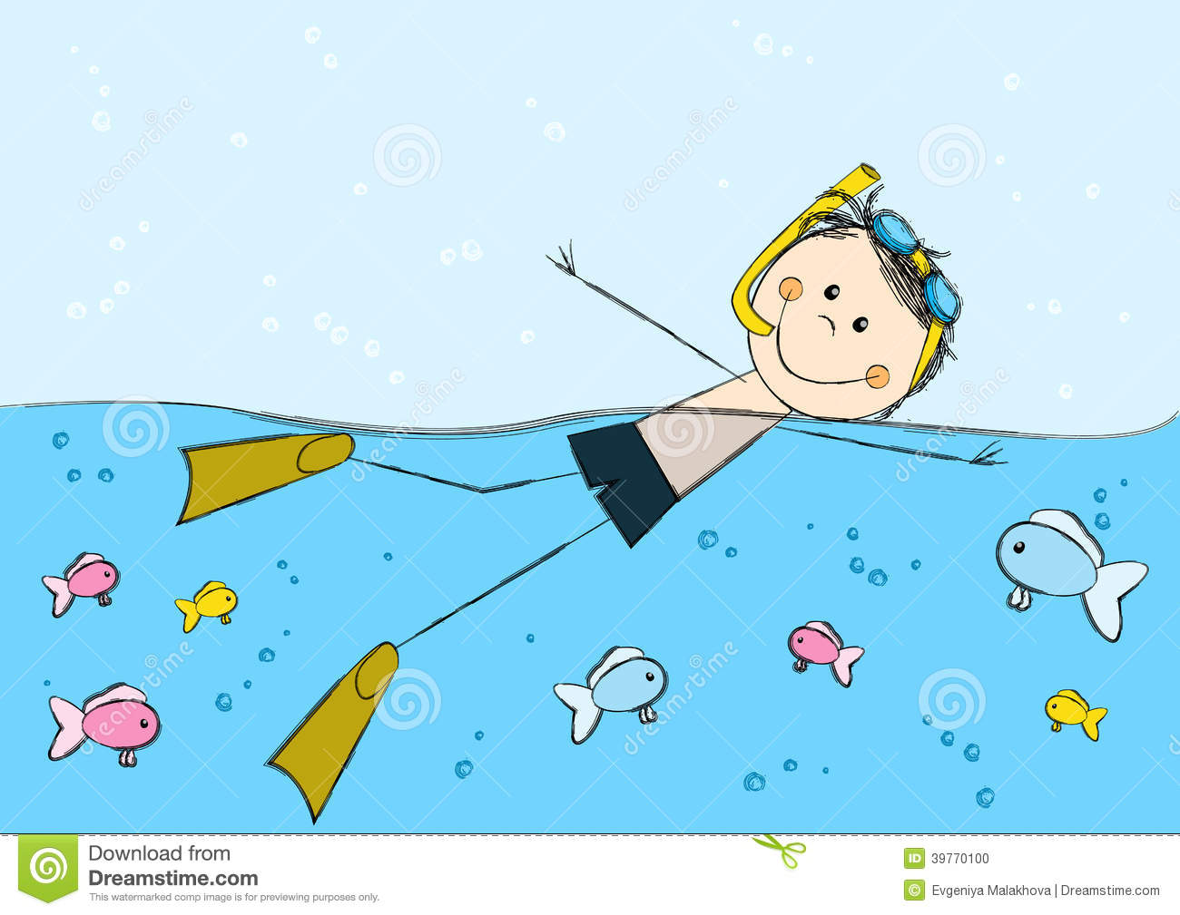 Swimming Boy On Sea Background Stock Vector   Image  39770100