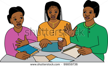 Three Black Women In A Business Meeting At A Round Table   Stock