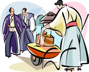 Three Japanese Men Walking At An Outdoor Market   Royalty Free Clipart