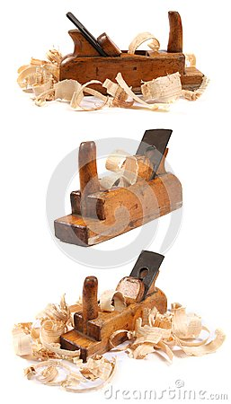 Three Old Wooden Carpenter S Planes On White