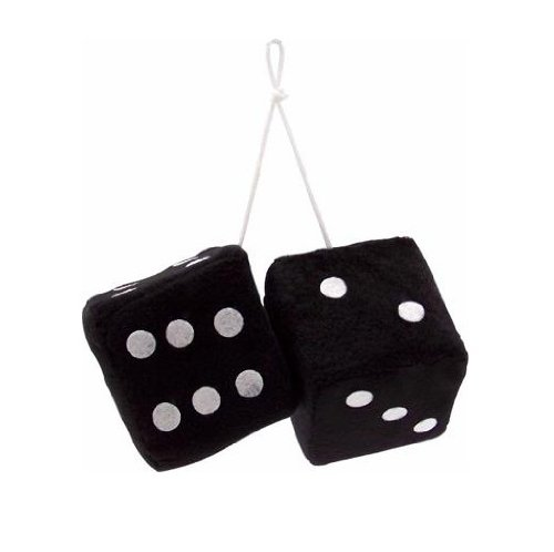 Vintage Parts 14553 3 Black Fuzzy Dice With White Dots   Pair