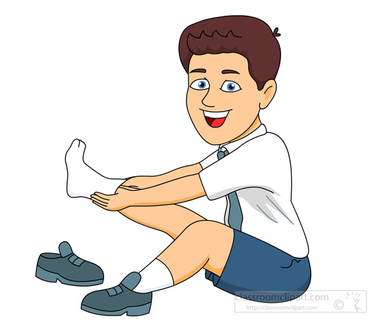 Boy Sitting Down Putting On Socks Shoes   Classroom Clipart