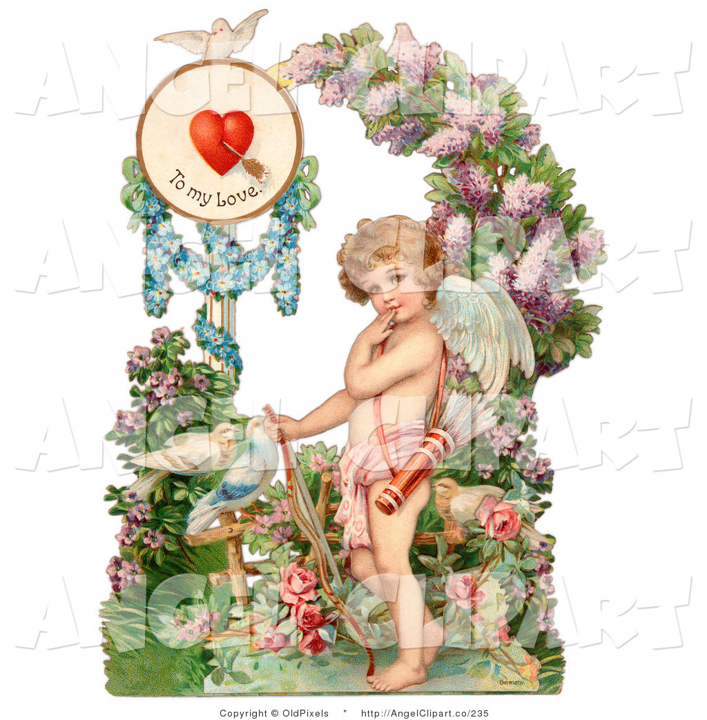 Clip Art Of A Sweet Vintage Valentine Of Three Cherubs One Flying