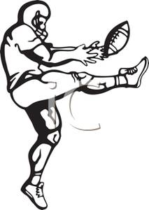 Kicker Kicking A Football   Royalty Free Clipart Picture