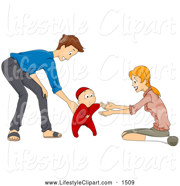 Lifestyle Clipart Of A Mother And Father Helping Their Baby Walk By