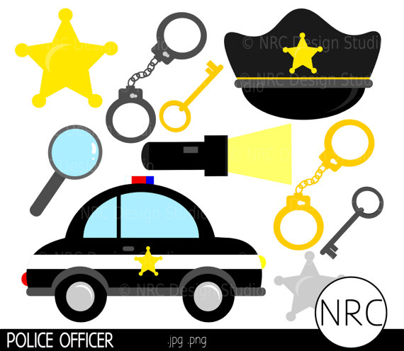 Sale Policeman Clip Art   Police Officer Cop Car Badge Handcuffs Keys