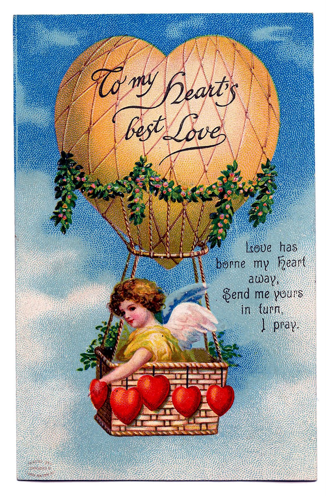 Vintage Valentine S Day Clip Art   Cupid In Heart Shaped Balloon   The