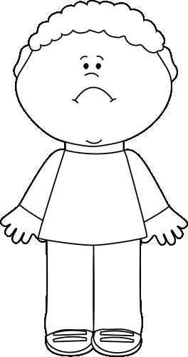 Black And White Sad Little Boy Clip Art   Black And White Sad Little
