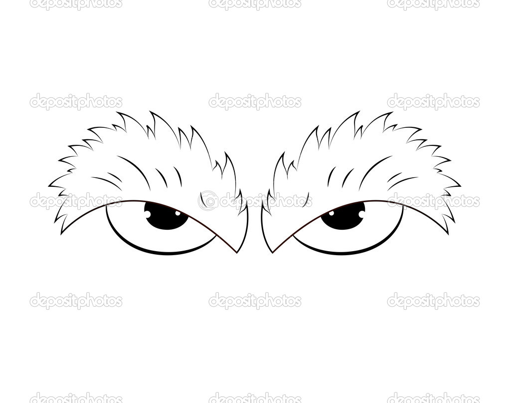 Creative Design Art Of Outlined Angry Cartoon Eyes Vector Illustration