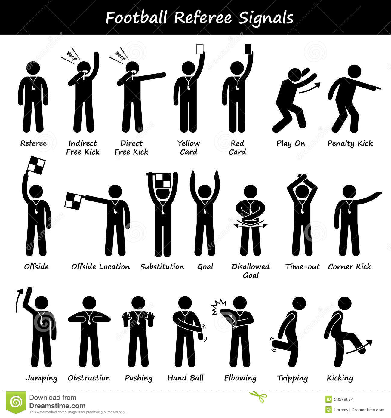 Football Soccer Referees Officials Hand Signals Cliparts Stock Vector